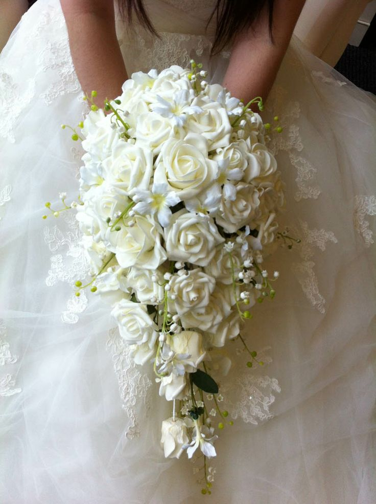 Diamonds and Daisies - gorgeous shower bouquet of roses, stephanotis and lily of the valley