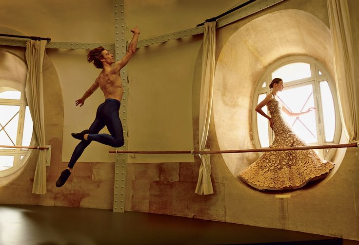 Grand Entrance: Natalia Vodianova and the Paris Opera Ballet's Benjamin Millepied: Paris Opera Ballet étoile Hervé Moreau shows off a leap. Photographed by Annie Leibovitz, Vogue, November 2014.