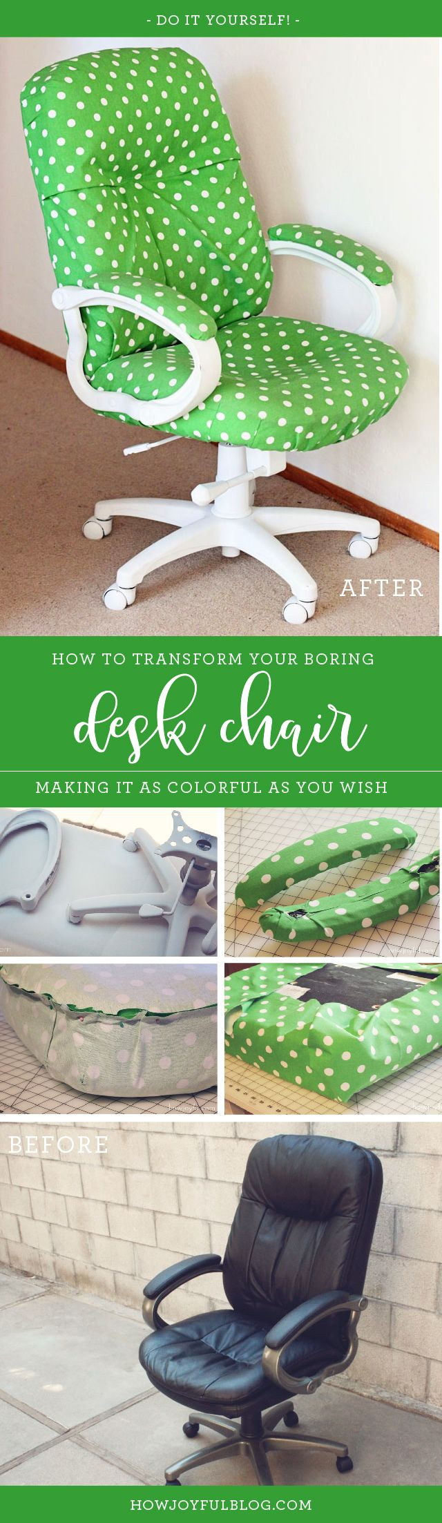 How to transform a boring chair with fabric and lots of patience - Desk chair transformation by Joy Kelley from @howjoyful via @howjoyful