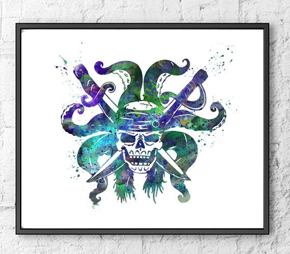 Pirates of the Caribbean Watercolor Print, Watercolor Print, Movie Poster, Captain Jack Sparrow, Wall Art, Home Decor, Kids Room Decor - 123