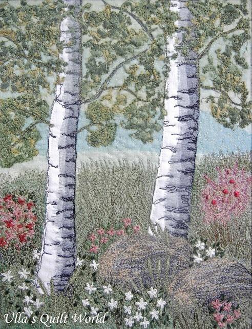 thread painting the birch tree