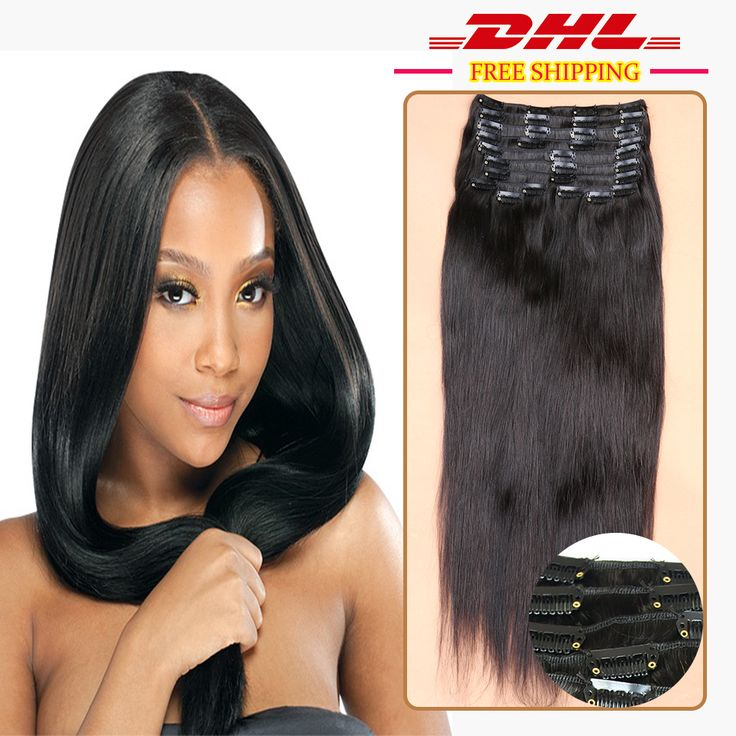 Clip in Human Hair Extensions Peruvian Straight Clip in Hair Extensions Natural 1b Clip in Human Hair Extensions For Black Women