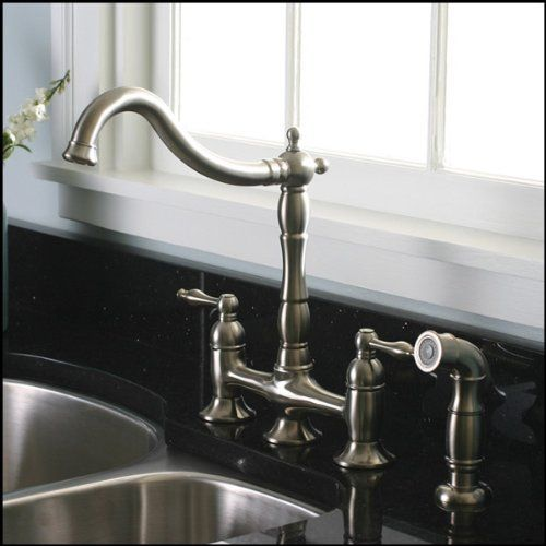 Brushed Nickel Kitchen Faucet with matching Sprayer - Bridge Style