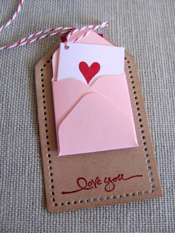 Kraft Mini Envelope Note Card Valentine Gift by PaperLaneCreations