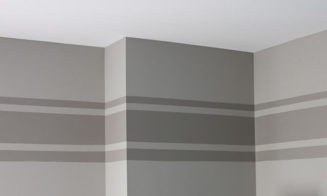 The Yellow Cape Cod: Tone on Tone Wall Stripe Tutorial. Paint colors: a base color (Dorian Gray, Sherwin Williams) and an accent color (Dovetail, Sherwin Williams).
