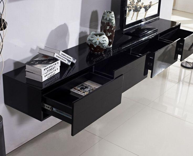 meuble tv suspendu noir laqué à 4 tiroirs de rangement