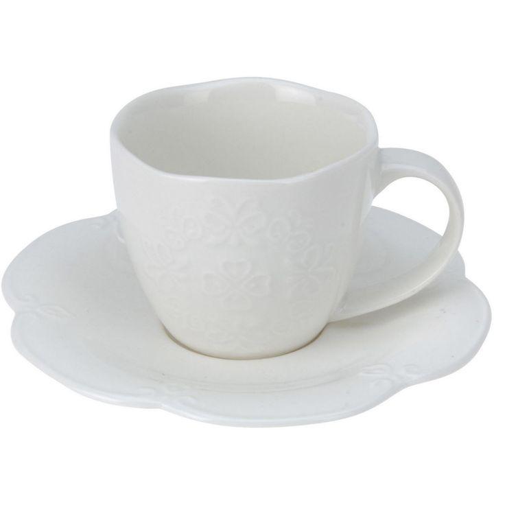 Filiżanka z podstawką (Biała porcelana), Q75700120 - Dodatki do domu - Sklep Internetowy Belmeb