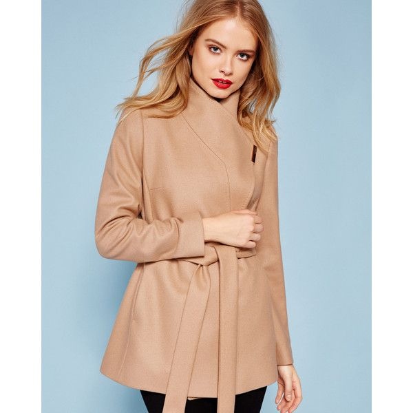 Ted Baker Short wrap cashmere-blend coat (26.960 RUB) ❤ liked on Polyvore featuring outerwear, coats, camel, long sleeve coat, red coat, short camel coat, short wrap coat and ted baker coats