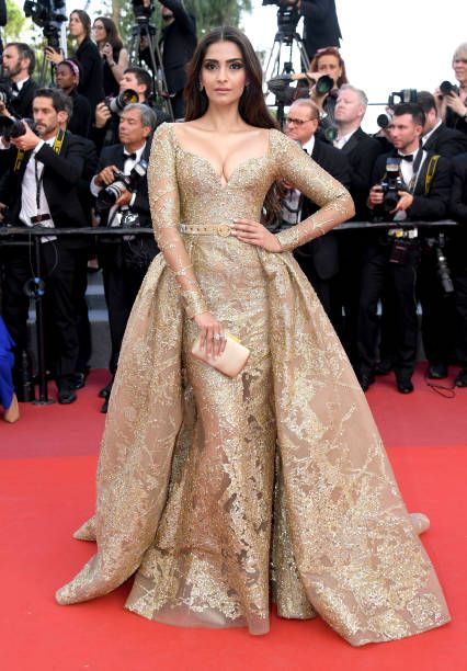 Sonam Kapoor in ELIE SAAB Spring 2017 Couture attends the 'The Killing Of A Sacred Deer' screening during the 70th annual Cannes Film Festival at Palais des Festivals on May 22 2017...