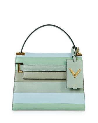 My+Rockstud+Striped+Satchel+Bag,+Green+Multi+by+Valentino+at+Neiman+Marcus.