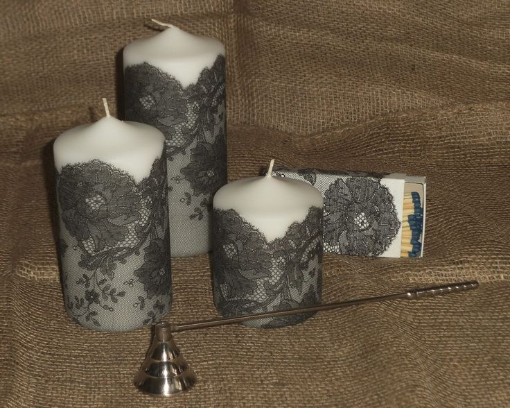 Candles with a beautiful lace effect - using a design from a serviette (napkin decoupage).    (Available from Your Lovely Home on Folksy.com)