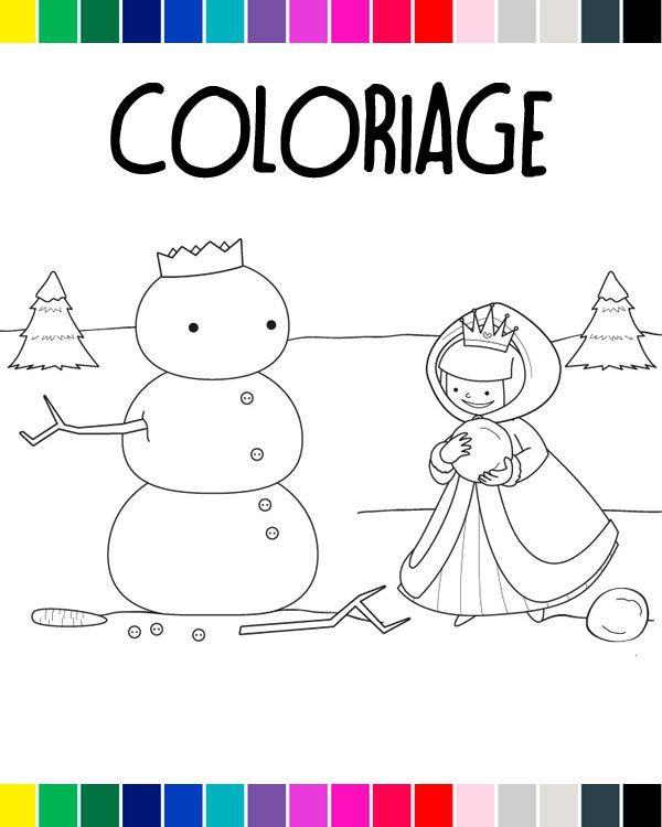 Coloriage à imprimer : La princesse et le bonhomme de neige #coloriage #notrefamille