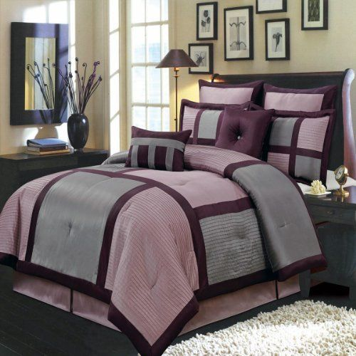 Morgan Purple and Gray CalKing size Luxury 12 piece comforter set includes Comforter bed skirt pillow shams decorative pillows flat sheet fitted sheet pillowcases -- ON SALE Check it Out
