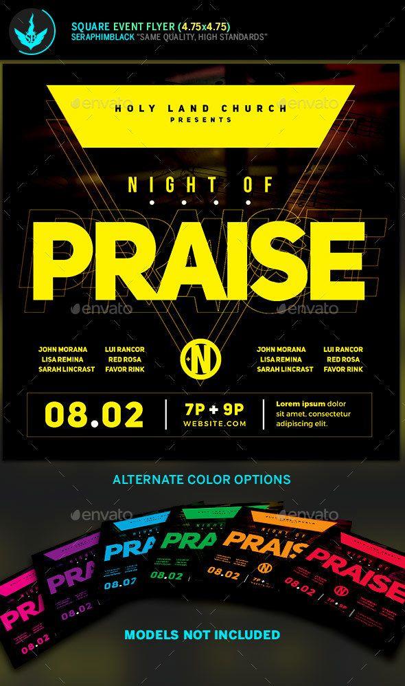 Night Of Praise Gospel Concert Square Flyer Template Church Flyers
