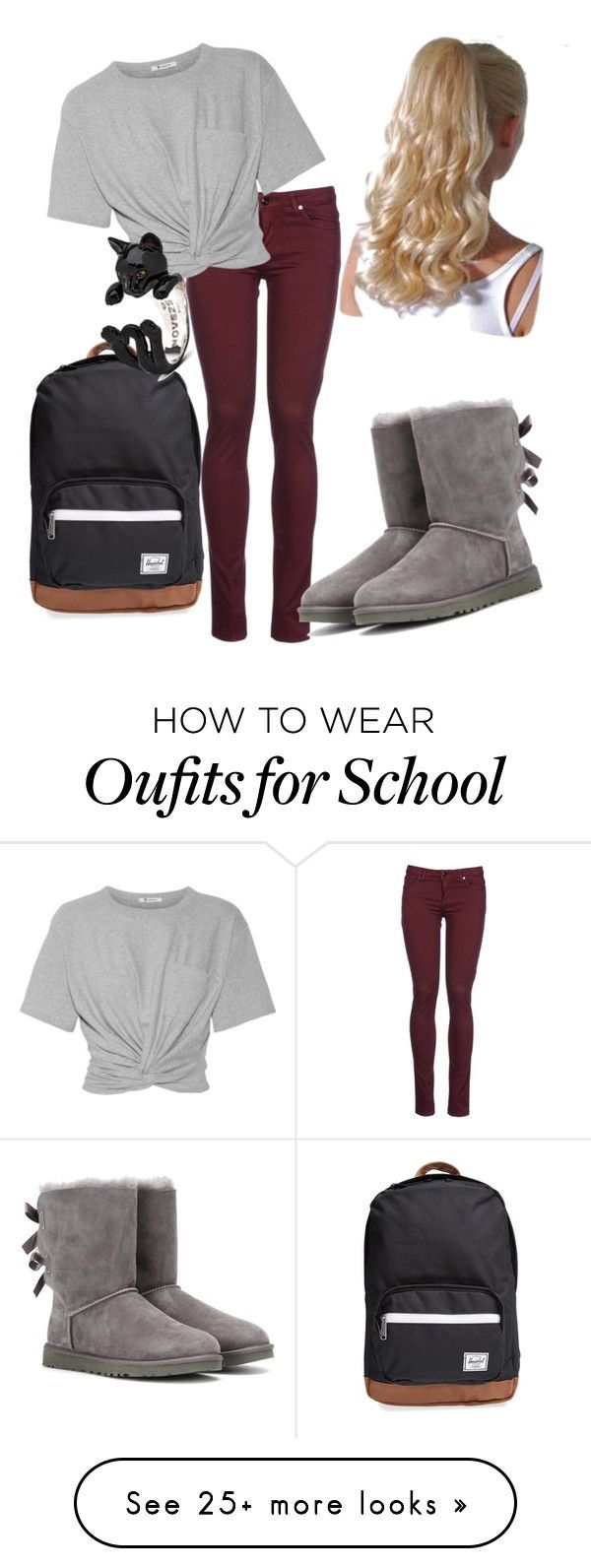 """School Outfit"" by kloveskats on Polyvore featuring Herschel Supply Co., 8, T By Alexander Wang and UGG"