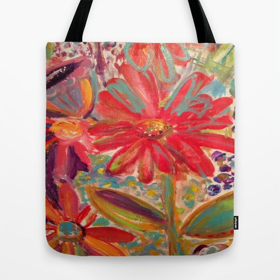 Tote bags made with Susan K. Weckesser Inc. mixed media designs. #society6 https://society6.com/product/in-the-garden-p60_bag#26=197
