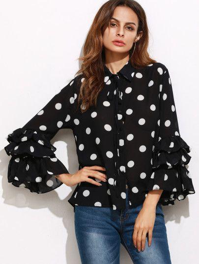 Black Polka Dot Print Layered Ruffle Sleeve Blouse
