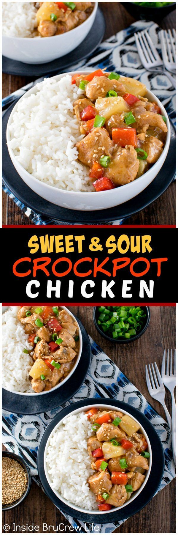 Sweet and Sour Crockpot Chicken - peppers, pineapple, and chicken cooked in a sweet & sour sauce tastes great over rice. Easy dinner recipe!