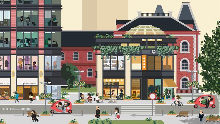 Monocle x Marunouchi   Hey / Flat design / flat illustration / #flat #illustration