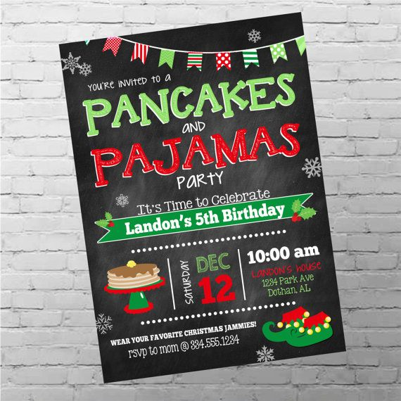 Hey, I found this really awesome Etsy listing at https://www.etsy.com/listing/255466376/pancakes-and-pajamas-birthday-invitation