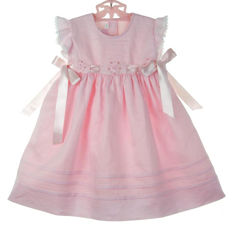NEW Will'Beth Pink Linen Dress with Pink Rosebuds and Pink Satin Ribbon Ties