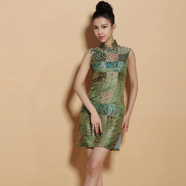 Green silk qipao #cheongsam #qipao #dress