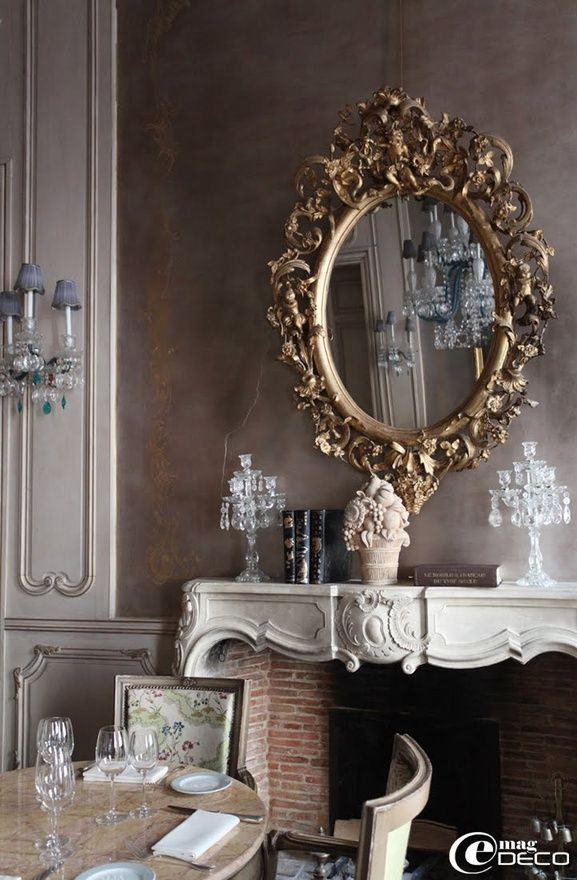 YumDecor, Wall Colors, Dining Room, Dreams, Fireplaces, Interiors Design, Wall Treatments, House, Mirrors Mirrors