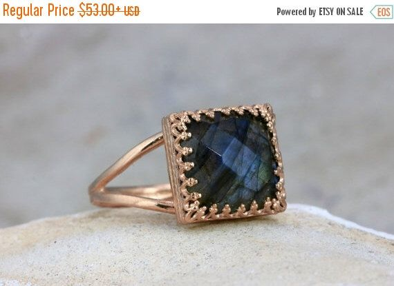 SPRING SALE - Labradorite ring,gemstone ring,square ring,vintage ring,rose gold ring,pink gold ring,mom gift by AnemoneJewelry on Etsy https://www.etsy.com/listing/474557855/spring-sale-labradorite-ringgemstone