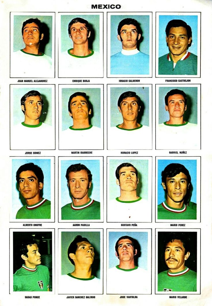Mexico team stickers for the 1970 World Cup Finals.