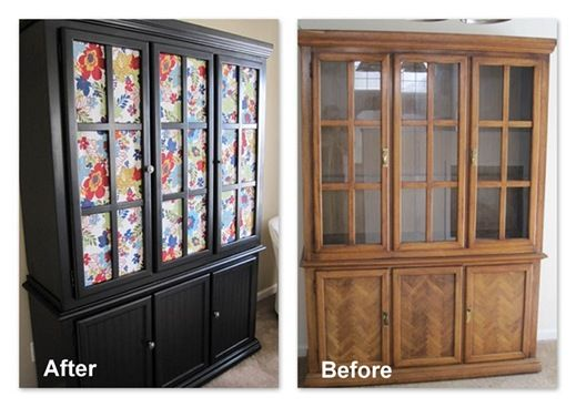 Repurposed China Cabinet To Storage Put Fabric Behind