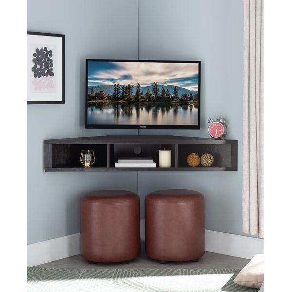French Floating Corner Tv Stand For Tvs Up To 55 Living Room Corner Small Tv Room Living Room Tv Wall