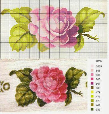 Σταυροβελονιά - Χάρτες και δωρεάν σχέδια κεντήματος: σημείο Διάγραμμα πολλαπλής κέντημα τριαντάφυλλο για κάθε εφαρμογή