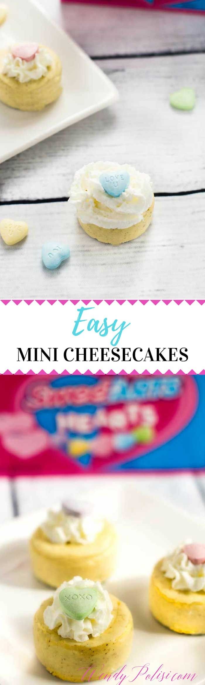 Easy Mini Cheesecakes - Perfect for Valentines Day!  How can you share your love this Valentine's Day? With @SweeTARTS Hearts and Soft & Chewy Ropes! More than just a tasty treat, these Valentine's Day classics are the perfect way to spread the love! #ad