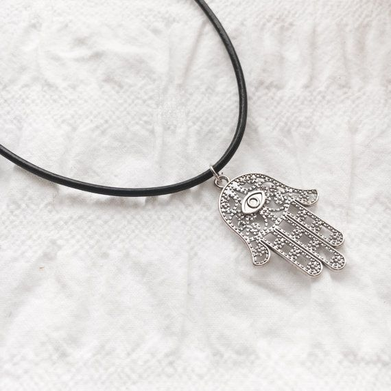 Hamsa leather necklace tibetan silver charm by JunkboxCouture