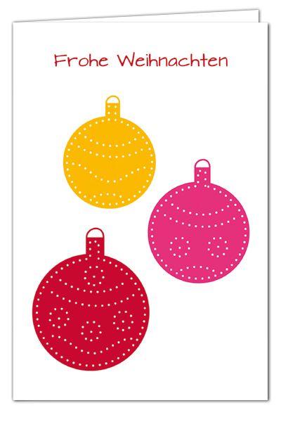 Kugelige Weihnachtsgrüße zum Prickeln - Rot/Pink/Orange - Weihnachtskarte mit rotem Umschlag