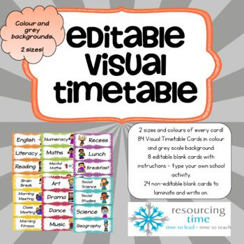 84 visual pre-made timetable cards in your choice of size and either a bright colour or grey background! Every card in two colours and sizes. PLUS 24 blank cards for you to print, cut and laminate and then write with those one off events that can happen in schools.