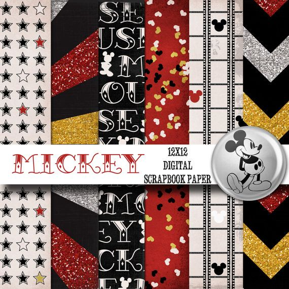 Disney Mickey Mouse Inspired 12x12 Digital Paper Backgrounds for Digital Scrapbooking -INSTANT DOWNLOAD -