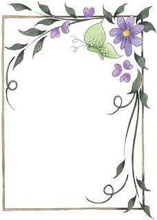 Borde con mariposas y flores