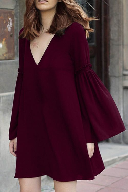 Bell Sleeve Solid Color Flare Dress