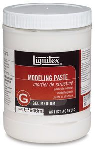 """For 3-D forms. Can be textured when wet, carved when dry. Light Modeling Paste- lightweight, airy, flexible, thick, sculptural gel... specifically formulated to be used where weight is a factor. Used alone, dries to a matte opaque white that readily accepts staining. No """"mud cracking."""" Often used with texture gels. Flexible Modeling Paste- matte, opaque mixture of marble dust and polymer emulsion used to build heavy textures and three-dimensional forms on flexible or rigid supports."""