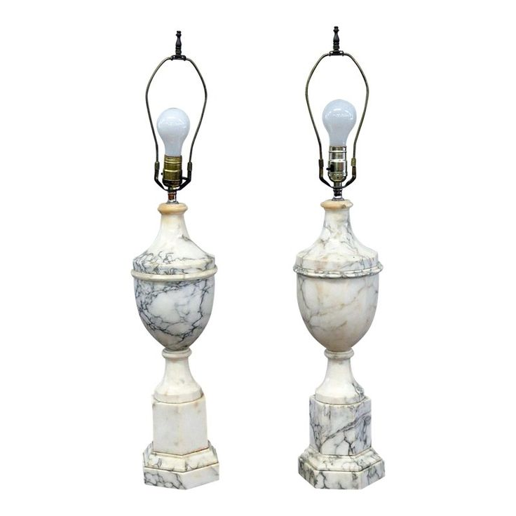 Neoclassical Style Marble Table Lamps – a Pair