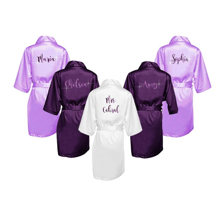 SALE Silk Bridesmaid Robes Set of 6 - Silk Bridal Party Robes - Bridesmaid Wedding Gift - Silk Robe - Personalized Silk Robes - $130.49 USD
