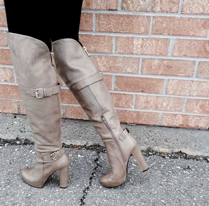 These boots were definitely made for walking! These gorgeous over-the-knee stone coloured #Guess boots are a #MustHave for every girl's closet this fall! Find them at #PlatosClosetNewmarket for only $70! #TheseBootsWereMadeForWalking #BootSeason | www.platosclosetnewmarket.com