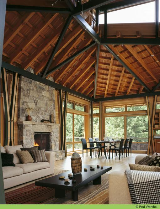 open beam ceilings. want #interiorsDreams Home, Roof Structures, Finn Architects, Design Interiors, Home Interiors Design, High Ceilings, Tropical Living Room, Design Home, Logs Cabin