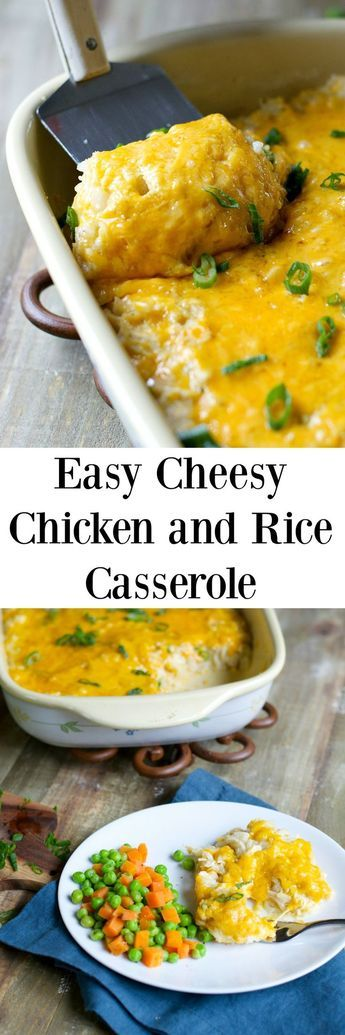 This easy gluten free Cheesy Chicken & Rice Casserole is a classic comfort food! Super easy and perfect for those picky eaters!