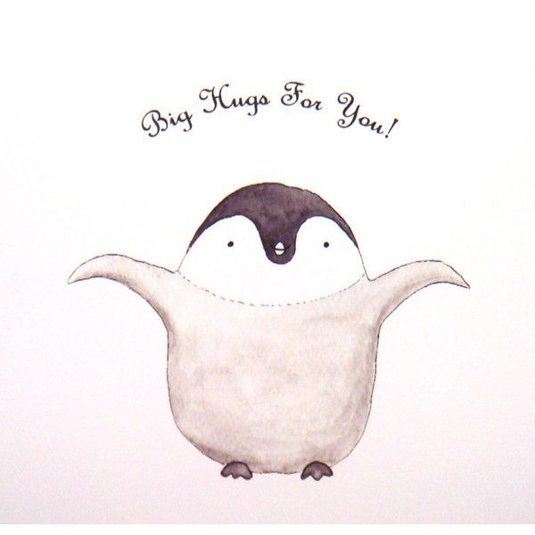 Cute Penguin Hug Original Animal Illustration Print Grey Black White... ($7.99) ❤ liked on Polyvore