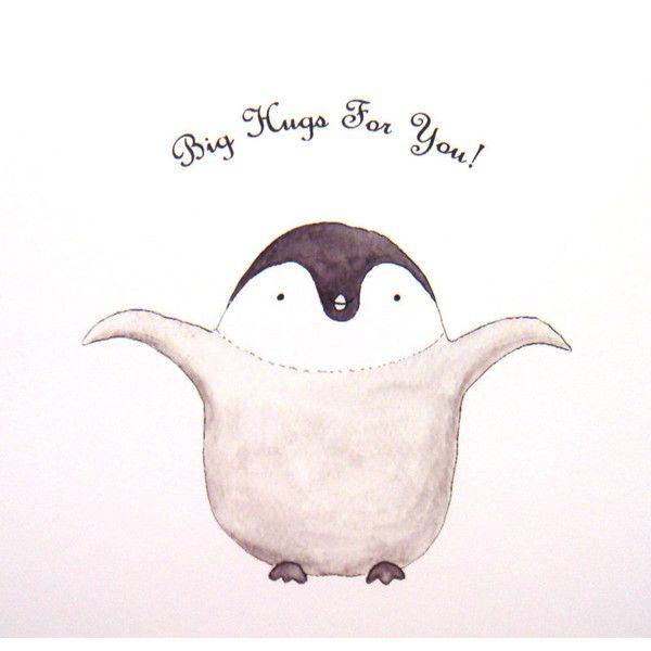 Cute Penguin Hug Original Animal Illustration Print Grey Black White... ($7.99) ❤ liked on Polyvore
