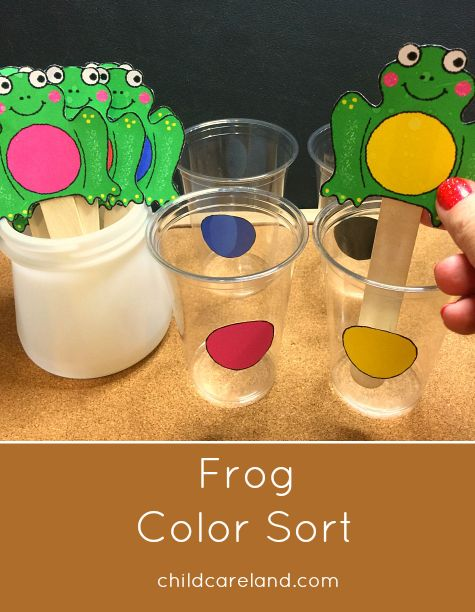 Frog color sort ... children put the frog sticks in the cups with the matching color.