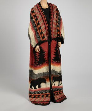 Love this Red Orange  Tan Moose Tracks Duster Robe by EARTH RAGZ on #zulily! #zulilyfinds