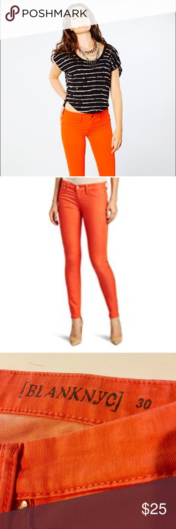 BlankNYC Orange Skinny Jeans NWOT SIZE 9 Amazing - BLANKNYC - Super Hot Jeans for Fall -Do Thanksgiving Looking Fabulous and Slay the Day! New Without Tags - Slightly Stretchy - size 30 - Converts to size 9 / 10 . Madewell sells BLANKNYC jeans on their jean bar for $110...this is a steal! Blank NYC Jeans Skinny